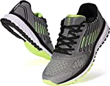 JOOMRA Men's Tennis Shoes Lace up Walking Trail Running Size 11 Gray Green Daily Gym Comfortable Treadmill Cushion Cross Training for Man Athletic Sneakers 45