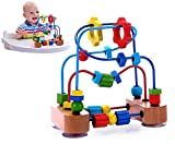 Premium Bead Maze for Baby, Toddler, with Strong Suction Cups & Wooden Roller Coaster Sliding Beads on Durable Wire Frames - Classic Developmental Activity Toy for Babies, 1 & 2 Year Olds