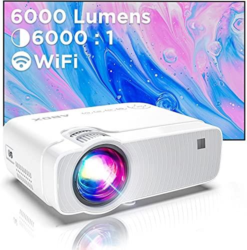 Proiettore Wifi, Mini Videoproiettore Portatile, Luminosit 6000, Supporta 1080p Full HD 300'', ABOX Proiettore Wifi Compatibile Android,Laptop,PS4,Mac, Ideale per Home Cinema