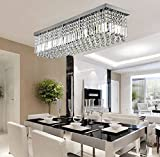 SILJOY Rectangular Raindrop Crystal Chandelier Lighting Modern Ceiling Lights Flush Mount Fixture L31.5' X W10' X H10'