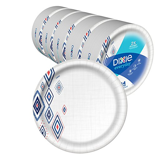 Dixie Everyday Paper Plates,10 1/16inch Dinner Size Printed Disposable Plate, 220 Count (5 Packs of 44 Plates)