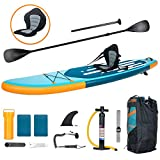 YUSING 11' Inflatable Stand Up Paddle Board with Kayak Seat, Non-Slip Deck SUP Paddle Board with Premium Kayak and SUP Accessories & Backpack, Portable Standing Boat for Youth & Adult(Blue)