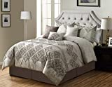 KingLinen 7 Piece Reina Chocolate/Taupe Comforter Set Queen