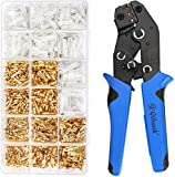 Wire Terminal Crimping Tool Kit, Qibaok Ratcheting Wire Crimper AWG 22-16(0.5-1.5mm²) with 500PCS Female Male Spade Connectors & Bullet Connectors Terminals