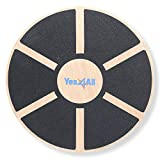 Yes4All Wooden Wobble Balance Board – Exercise Balance Stability Trainer 15.75 inch Diameter - Black - ²DB6FZ