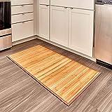 iDesign Formbu Bamboo Floor Mat Non-Skid, Water-Repellent Runner Rug for Bathroom, Kitchen, Entryway, Hallway, Office, Mudroom, Vanity, 24' x 48', Natural Wood