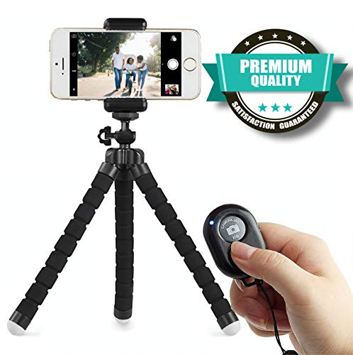 Cell Phone Tripod, Portable and Flexible Adjustable Camera Stand Holder with Wireless Remote and Universal Clip Compatible with iPhone Android Samsung, Great for TIK tok, Streaming, Selfies.