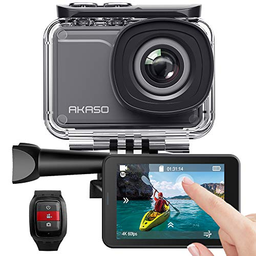 AKASO Action Cam Native 4K 20MP WiFi,Touch Screen,EIS Sommergibile 30m, Angolo Variabile Telecomando con Batterie 1100mAh x2(V50 PRO)