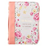 Christian Art Gifts Women's Fashion Bible Cover He Works All Things for Good Romans 8:28, Peach Floral Faux Leather, XL