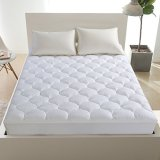 """LEISURE TOWN King Mattress Pad Cover Cooling Mattress Topper Cotton Top Pillow Top with Snow Down Alternative Fill (8-21"""" Fitted Deep Pocket)"""