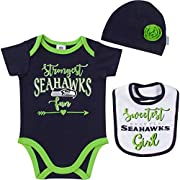 Includes one officially licensed Seattle Seahawks short sleeve Bodysuit, cap, and bib Cotton/polyester blend Interlock Seahawks logo with glitter screen print and woven label Brand name: NFL