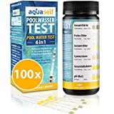 aquaself Poolwasser-Test 6-in-1 – Wassertester für Pool auf pH, freies Chlor, Gesamtchlor, GH, Cyanursäure, Gesamtalkalinität – 100 Stück Wasserteststreifen.