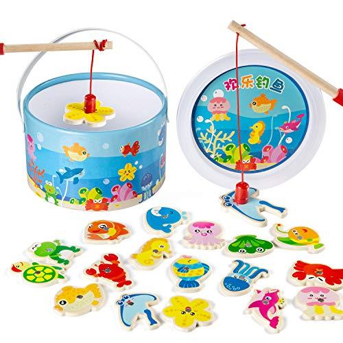 Comius Sharp Legno Magnetico Gioco di Pesca 20 Pezzi Gioco di Pesca Magnetico Gioco di Pesca di Giocattoli in Legno per Bambini di et Compresa tra 2 e 5 Anni Educazione Giocattoli