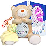 Baby Sleep Soother Sound Machine – Soft Teddy Bear White Noise Portable Lullaby Music Box for Babies and Toddlers with 15 Calming Sounds, Star Projector Night Light – Great Gift for Boys and Girls