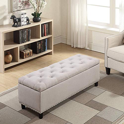 MODERN HOME Ottoman Pouffes with Storage Natural Color Standard Size