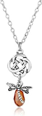 Onlyfo Vintage Rhinestone Outlander Celtic Knot Flower with Dragonfly Pendant Necklace with Jewelry Box,Outlander Necklace for Women,Men (Silver)