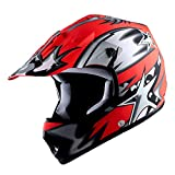 WOW Youth Kids Motocross BMX MX ATV Dirt Bike Helmet Star Matt Red