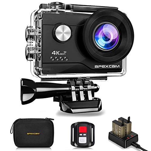 Apexcam 4K WiFi Action Cam 20MP Ultra HD Action Camera Impermeabile Sott'Acqua 40M 2 Pollici Sports Cam 2.4G Telecomando 170° Grandangolare con 2x1050mah Batterie e Kit di Accessori