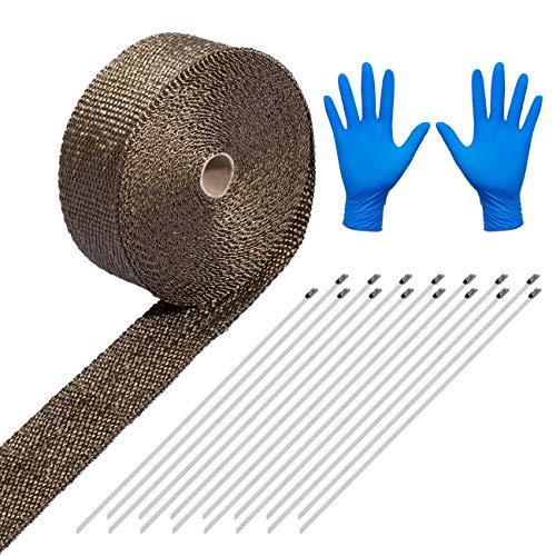 LIHAO Hitzeschutzband 15M Basaltfaser Auspuffband mit Kabelbinder für Fächerkrümmer Thermoband Krümmerband Gratis mit Handschuhe (Mehrweg)