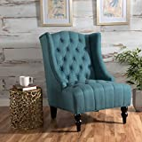 Christopher Knight Home 299588  Clarice | Tall Wingback Fabric Accent Chair | | Perfect For Living Room |, Dark Teal