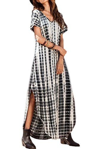 Vestidos Mujer Casual Playa Largos Verano Tie Dye Vestido Boho Hendidura Falda Larga Maxi Vestido Playeros Black L