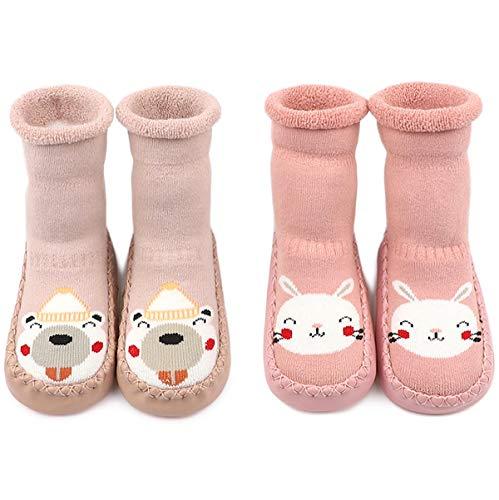 Adorel Pantofole Calzini Antiscivolo in Spugna Bambino 2 Paia Coniglio rosa-Orso rosa chiaro 9-12 Mesi (Dimensione del produttore 13)