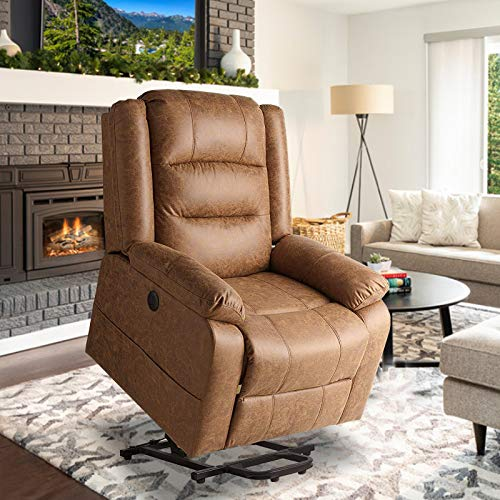 Aoxun Electric Power Lift Recliner Chair, Leather Like Fabric Recliners for Elderly, Home Sofa Chairs with Heat & Massage, Remote Control, 3 Positions, 2 Side Pockets and USB Ports, Brown
