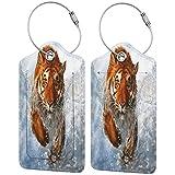 Tiger - Juego de etiquetas de cuero para maleta de viaje y accesorios de equipaje