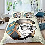 Cartoon Dog with Helmet Duvet Cover Comforter Cover Cute Pug Dog Animal Theme Bedding Set for Kids Adults Bedspread Cover Ultra Soft Room Decor Funny Yellow Full Size Bedclothes Zipper