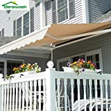 Diensweek Patio Awning Retractable 10'x8', Fully Assembled Manual Commercial Grade - Quality 100% 280G Ployester Window Door Sunshade Shelter - Deck Canopy Balcony P100 Series (10'x8', Beige)