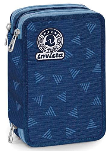 Astuccio 3 Zip Invicta Triangle, Blu, Con materiale scolastico: 18 pennarelli Giotto Turbo Color, 18...