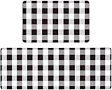 Pauwer Anti Fatigue Kitchen Floor Mat Set of 2 Non Slip Waterproof Comfort Standing Mat Thick Cushioned Anti Fatigue Kitchen Rug Runner Black and White Plaid