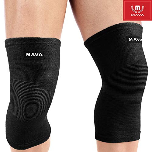 Mava Sports Knee Compression Sleeve Support for Men and Women - Perfect for Powerlifting, Weightlifting, Running, Gym Workout, Crossfit, Squats and Pain Relief (All-Black, Large).