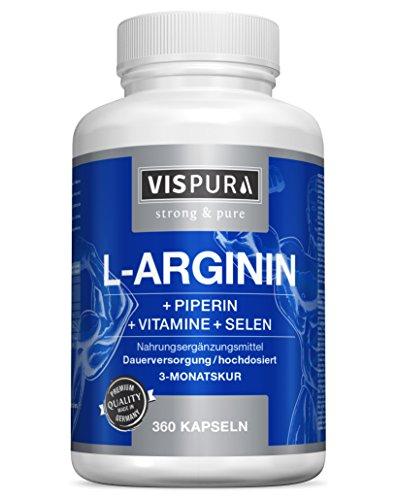 VISPURA® Cápsulas de L-Arginina, altamente concentrada, 360 comprimidos con fórmula VITAL B6, B12, ácido fólico, selenio y piperina para 3 meses, calidad alemana premium