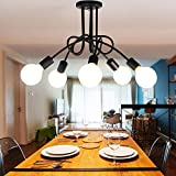Luminaire Plafonnier, Edison 5 Têtes Metal Fer Lampes Vintage Industrial...