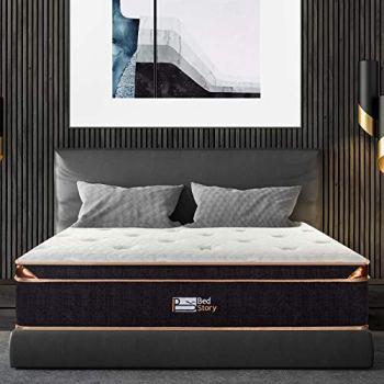 BedStory 12 Inch Gel Hybrid Mattress Queen, Black Luxury Spring Mattress Individually Encased Pocket Coil Mattress Built-in 2 Layers Airflow Convoluted Foam Medium Firm Euro Top 10-Year Warranty