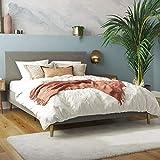 Mr. Kate Daphne Upholstered Bed with Headboard and Modern Platform Frame, Full, Dark Gray Linen