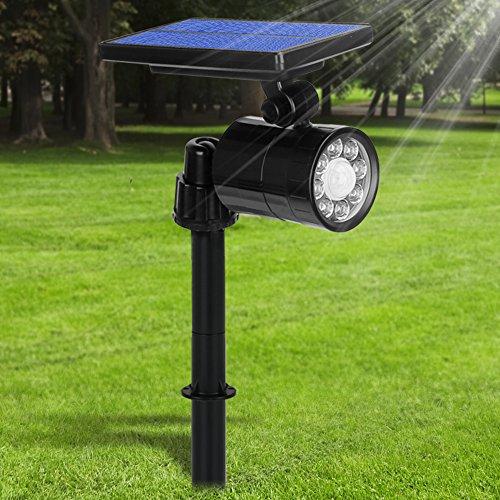Luci Solari LED Esterno 2 in 1, 800 Lumens Ultra Luminoso, Lampada Solare da Esterno con Sensore di...