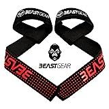 Correas Levantamiento de Pesas de Beast Gear – Correas Profesionales Acolchadas con Sujeción de...
