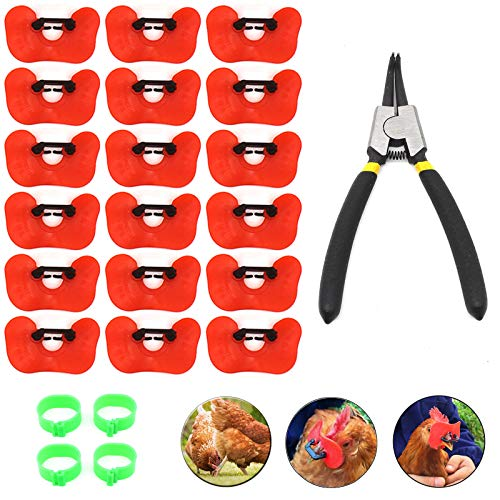 8UCK 25 Pcs Large Pinless Peepers with Pliers Set Chicken Peepers Eye Glasses Pheasant Poultry Blinders Spectacles Anti-Pecking