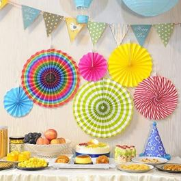 RELEMTRA Paper Fans Decorations Round Pattern Paper Party Fans Party Decoration Materials Party Fans for Decoration Baby…