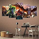 bnkrtopsu 5 Wandkunst Stück Leinwand 5 Leinwandbilder auf Leinwand für Heimdekoration und Poster Warhammer Total War (150x80cm Rahmenlos)