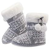 LA PLAGE Kids Winter Warm Slip-on Cute Cartoon Anti-Slip House Shoes Slippers Boots Size Toddler 3-4 US Grey