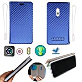 Ojtong Case for Assurance Wireless Unimax U673c Case Silicone Protection Ring + Flip Cover Stand Shell Blue