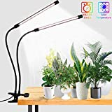 LED Grow Lights,6000K Full Spectrum White Plant Light LED Bulbs with Clip for Indoor Plant,5-Level Dimmable,Auto On/Off Timing 4 8 12H