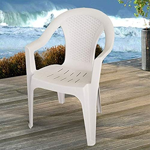 PROGARDEN Set di 6 sedie impilabili da Giardino, da Balcone o da Bar, impilabili, con Effetto Rattan Modello Ischia Colore: Bianco
