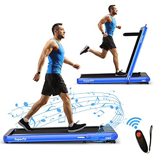 Goplus 2 in 1 Folding Treadmill, 4.75HP Superfit Under Desk Electric Treadmill with APP Control…