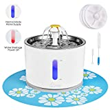 Cat Water Fountain Stainless Steel, 81oz/2.4L Intelligent Auto Power Off Pump, Pet Fountain, Cat Water Dispenser with 3 Filters, 1 Mat and 2 Cleaning Brushes, Water Level Window with LED Light