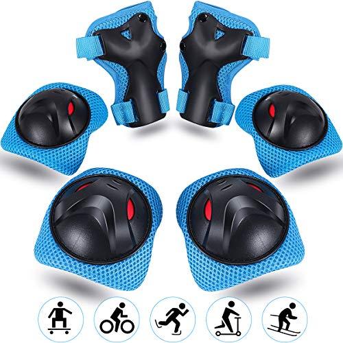 Vimzone Protezione Kit per Bambini, Ginocchiere Gomiti Polsiere Protettivo Set Kids Protective Gear per Skate, Bicicletta, Sci, Pattinaggio, Monopattino e Altri Sport Estermi (6 Pezzi)