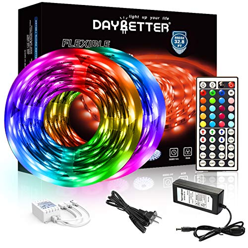 DAYBETTER Led Strip Lights 32.8ft 5050 RGB LEDs Color Changing...